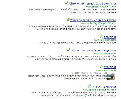תוצאות חיפוש עם גוגל פלוס